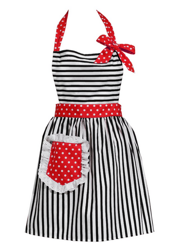 black red retro apron