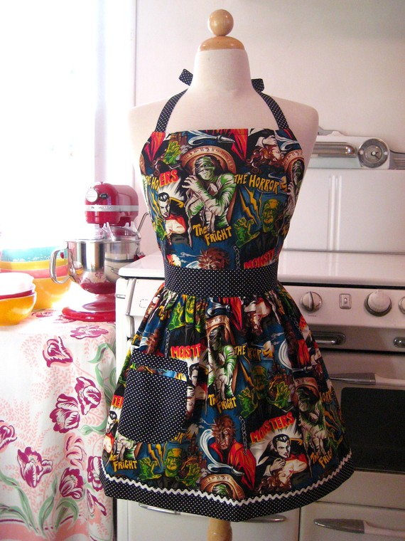 retro horror movie apron