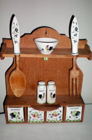 antique vintage spice rack wood